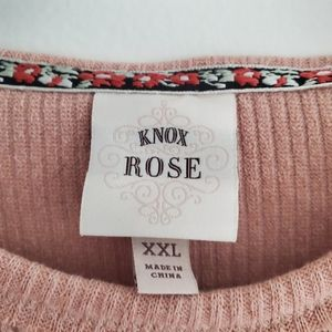 Knox Rose Sweaters - Knox Rose Embroidered Dusty Pink Dolman Sweater
